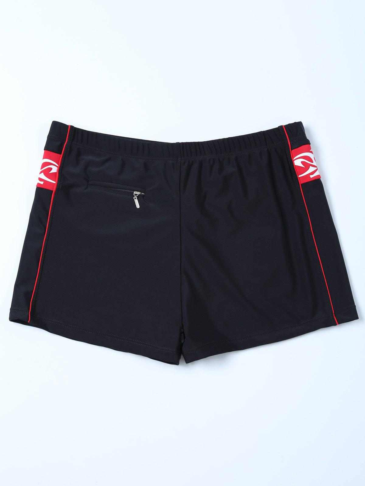 Zippered Contrast Panel Swim Bottom Boyshorts - BLACK 2XL