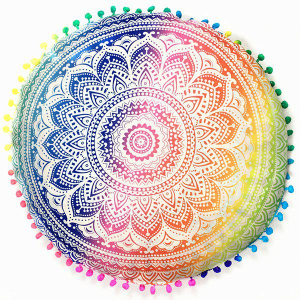 Mandala Flower Print Pompon Round Throw Covers flower print round coaster