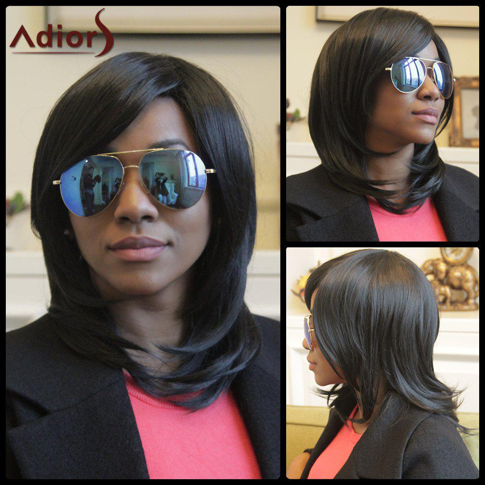 Adiors Tail Adduction Medium Straight Side Bang Synthetic WigHair<br><br><br>Color: BLACK