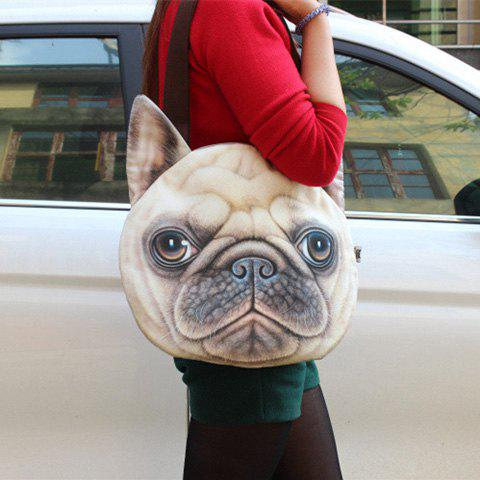 3D Print Dog Face Shaped Shoulder Bag - BEIGE