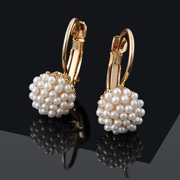 Artificial Pearl Ball Beads Earrings rhinestone artificial pearl bows earrings
