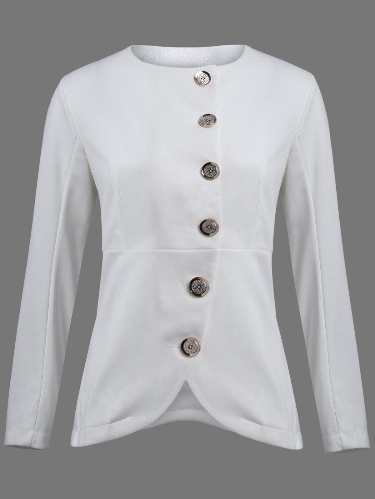 Asymmetric Button Up Blazer - WHITE 2XL