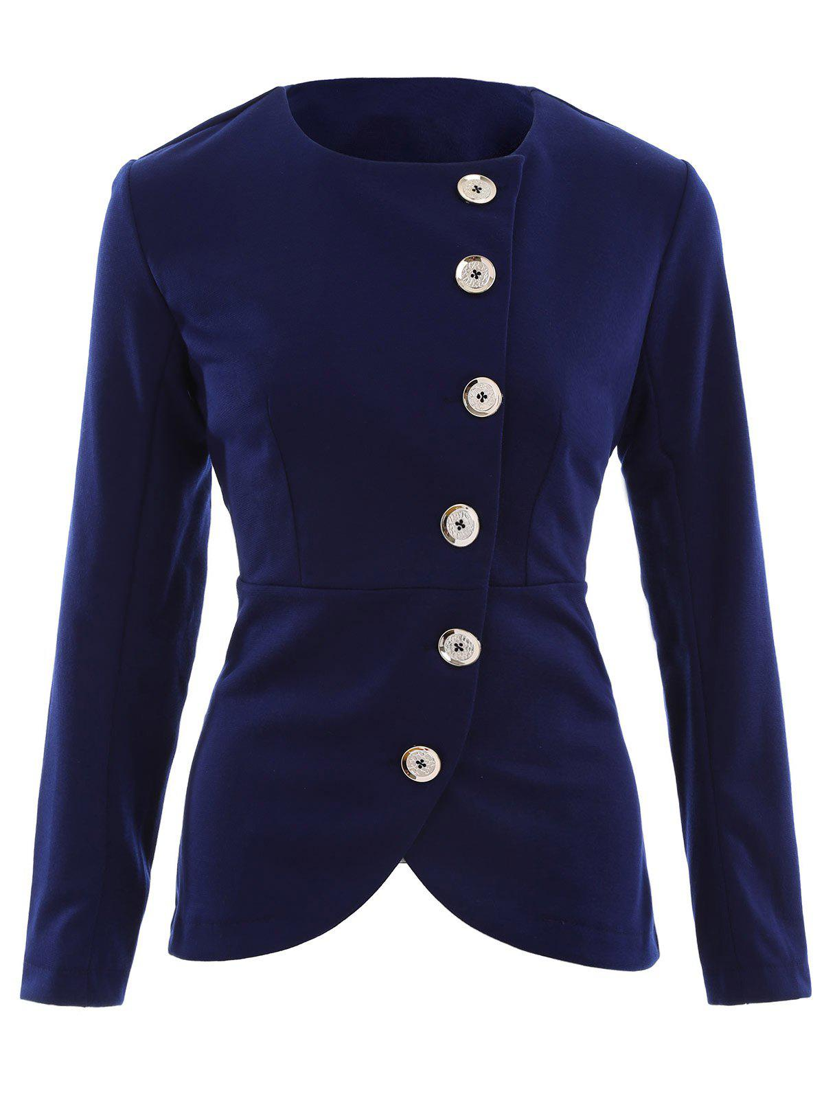 Asymmetric Button Up Blazer - PURPLISH BLUE L