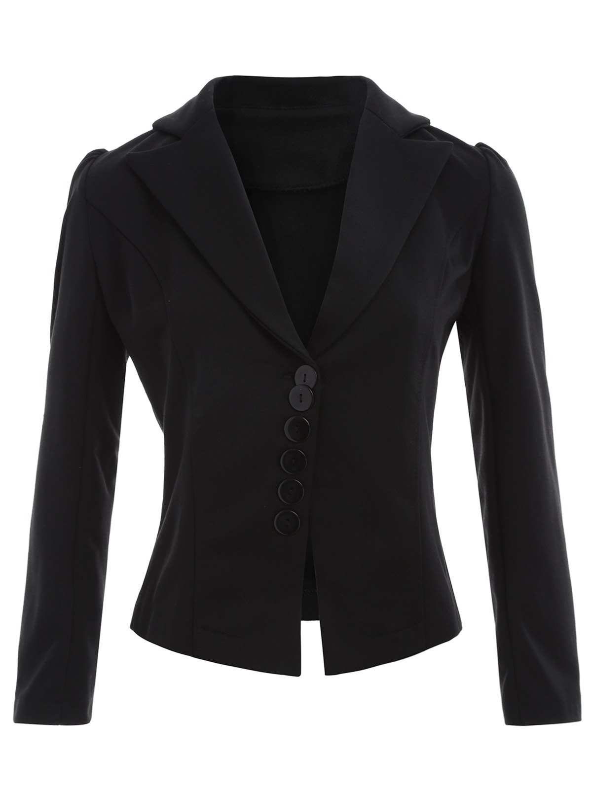 Lapel Button Up Blazer - BLACK M