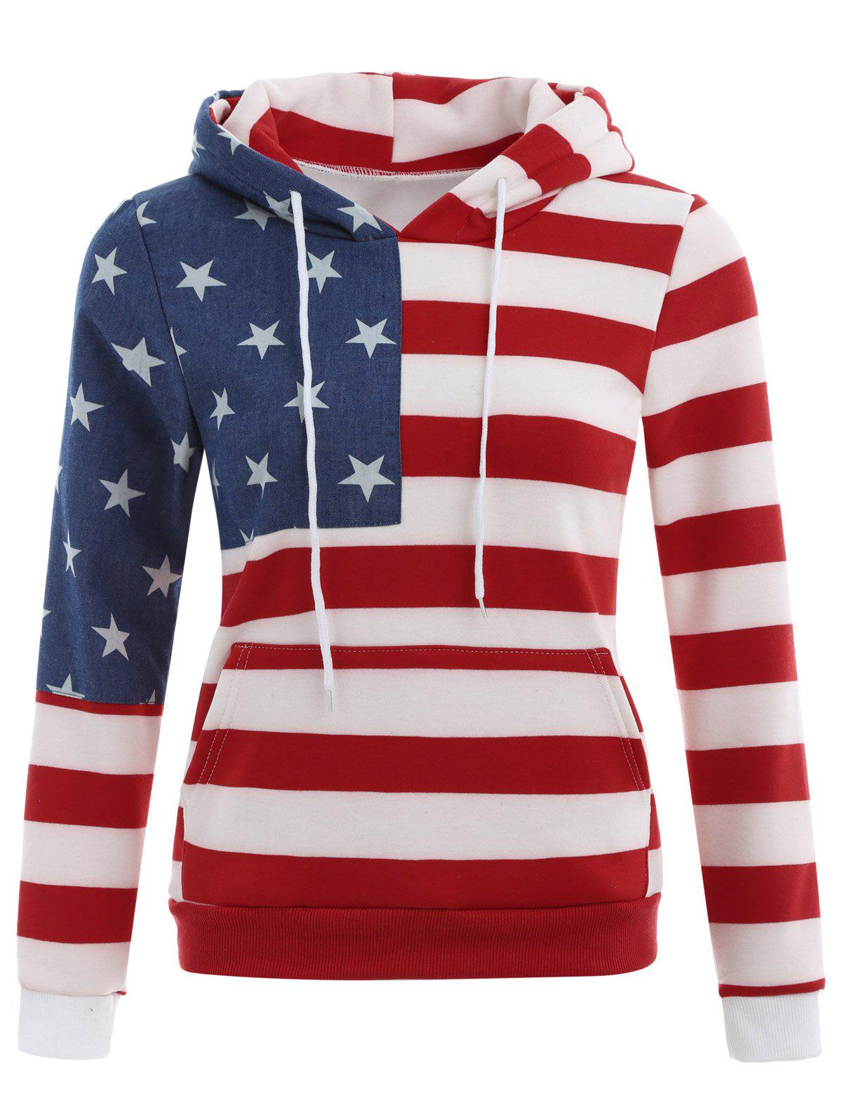 American Flag Print Drawstring Hoodie - RED XL