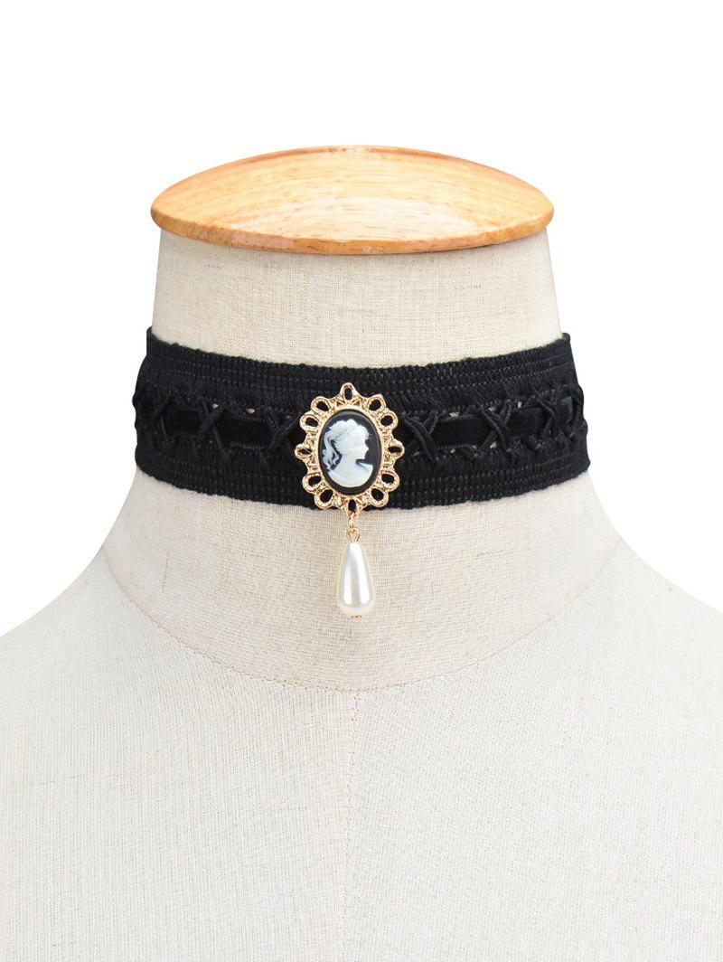 Fake Pearl Queenly Portrait Choker - BLACK