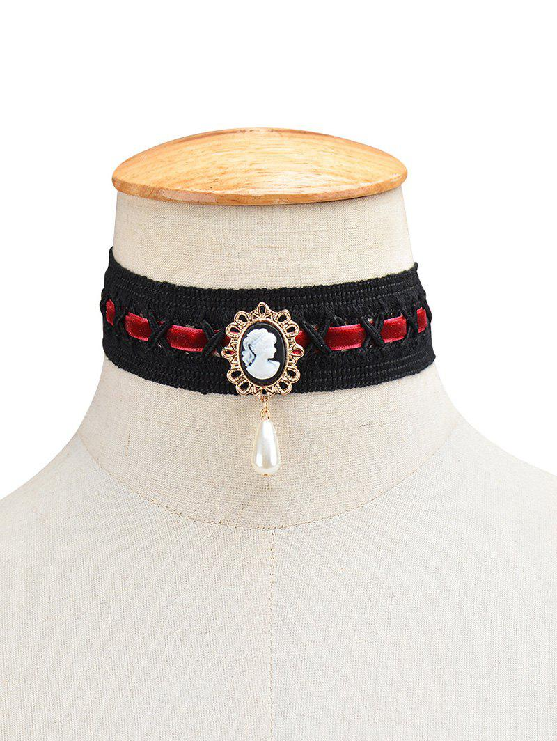 Fake Pearl Queenly Portrait Choker - WINE RED