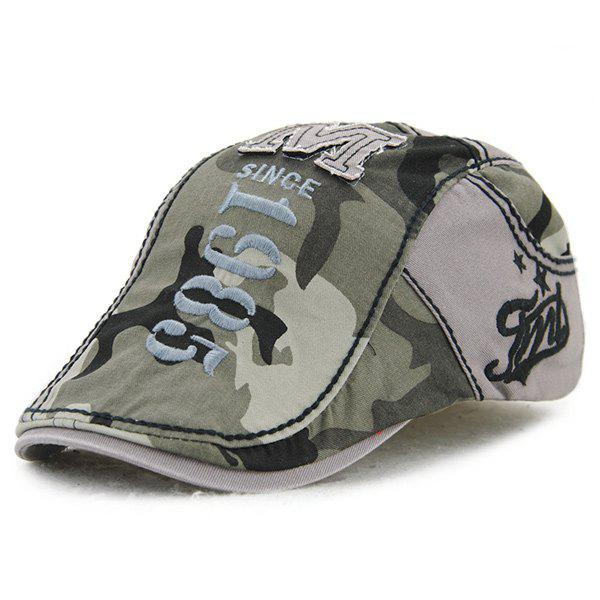 Applique Embellished 1985 Camouflage Newsboy Cap - GRAY