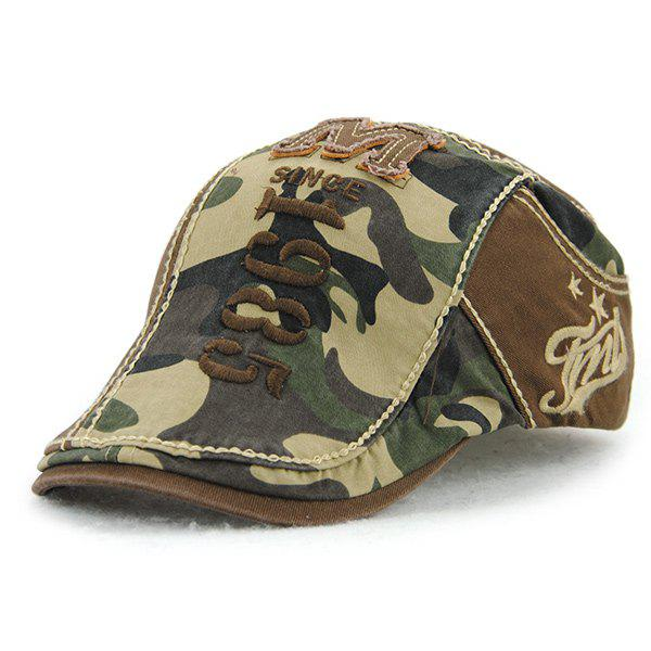 Applique Embellished 1985 Camouflage Newsboy Cap - COFFEE