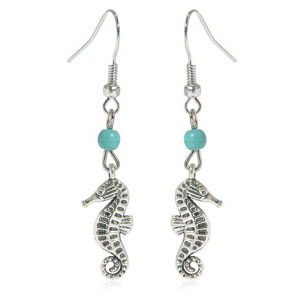 Faux Turquoise Sea Horse Earrings - SILVER