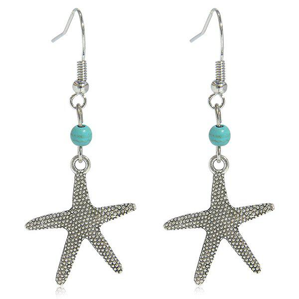 Faux Turquoise Starfish Earrings - SILVER