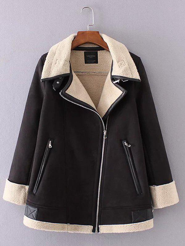Shearling Suede Jacket - BLACK M