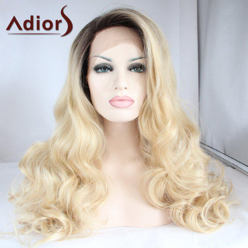 Adiors Long Side Parting Color Mixed Wavy Lace Front Synthetic Wig adiors long side bang color mixed wavy synthetic party wig