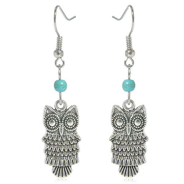 Faux Turquoise Owl Earrings - SILVER