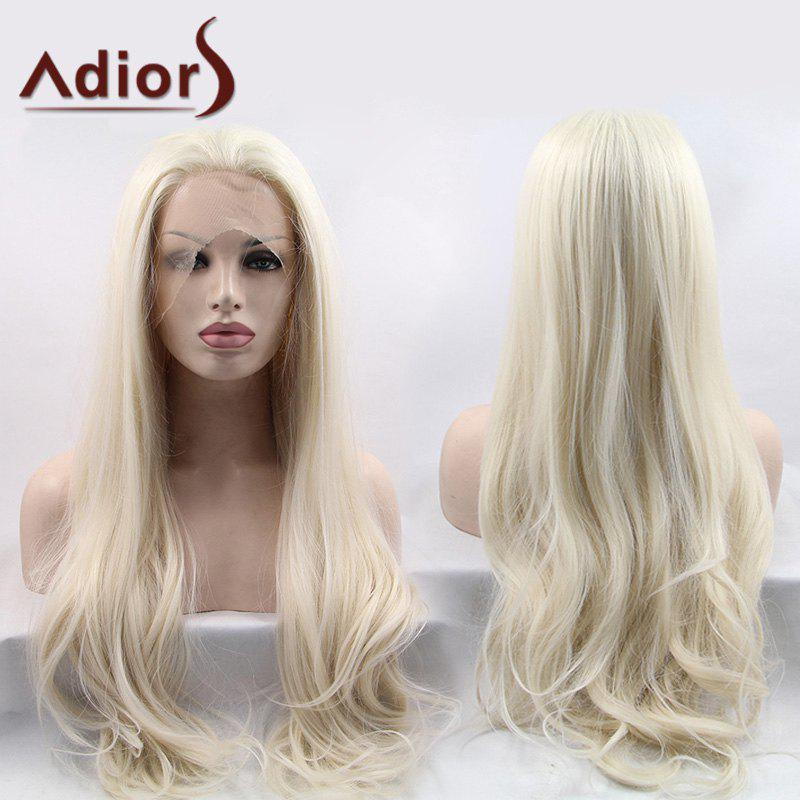 Adiors Ultra Shaggy Long Slightly Curled Lace Front Synthetic Wig - LIGHT GOLD