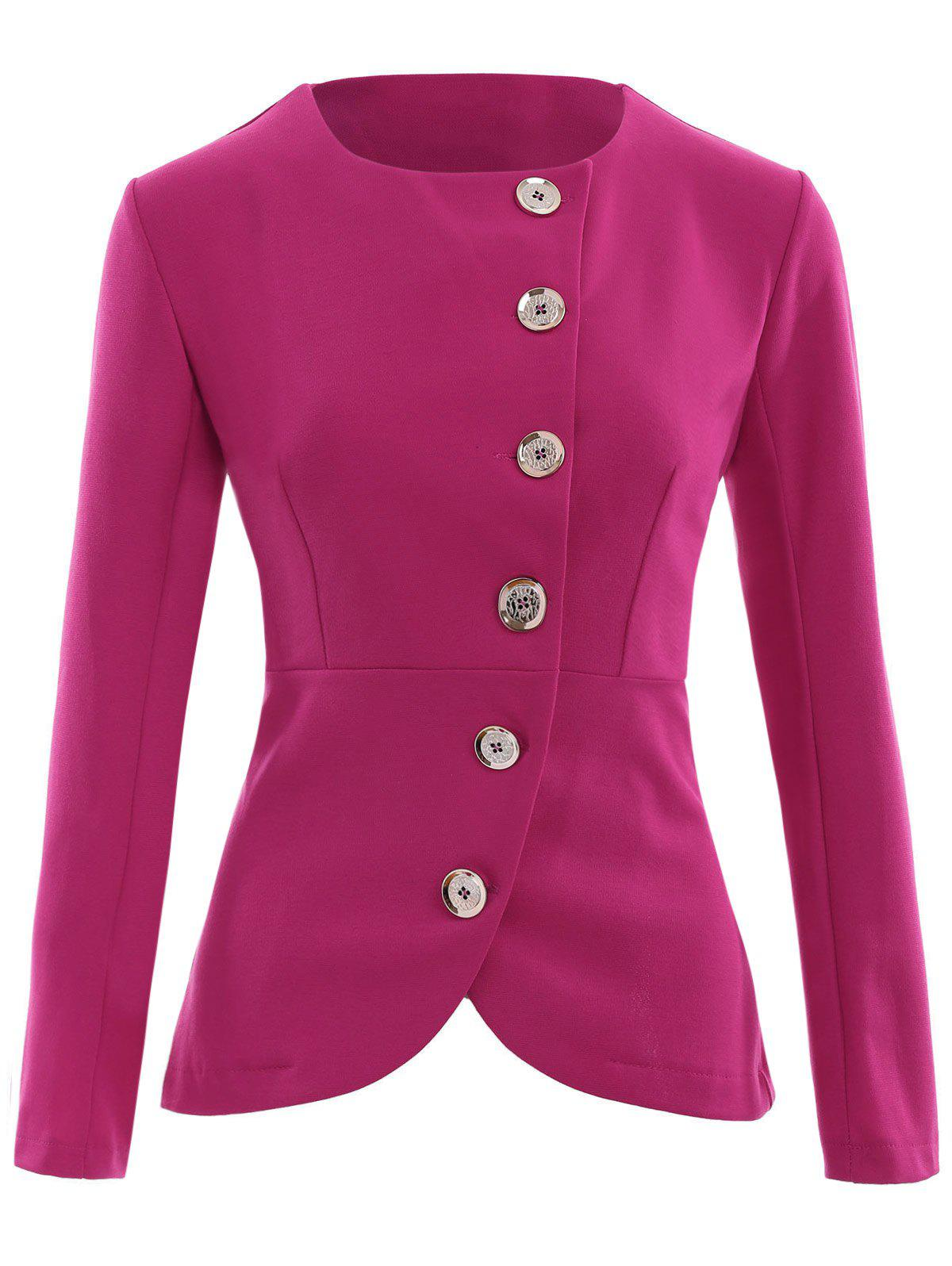 Asymmetric Button Up Blazer - ROSE RED XL