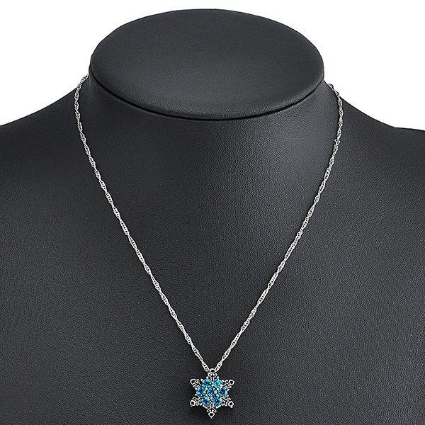 Rhinestoned Snowflake NecklaceJewelry<br><br><br>Color: LAKE BLUE