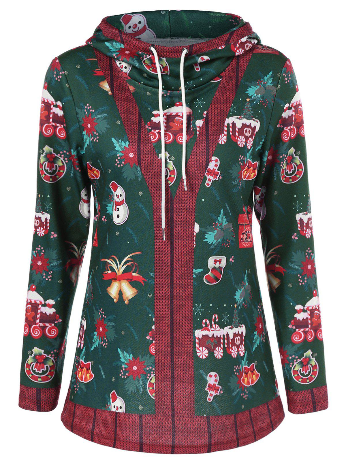 Pullover Hoodie With Christmas Patterned patchwork pullover striped hoodie
