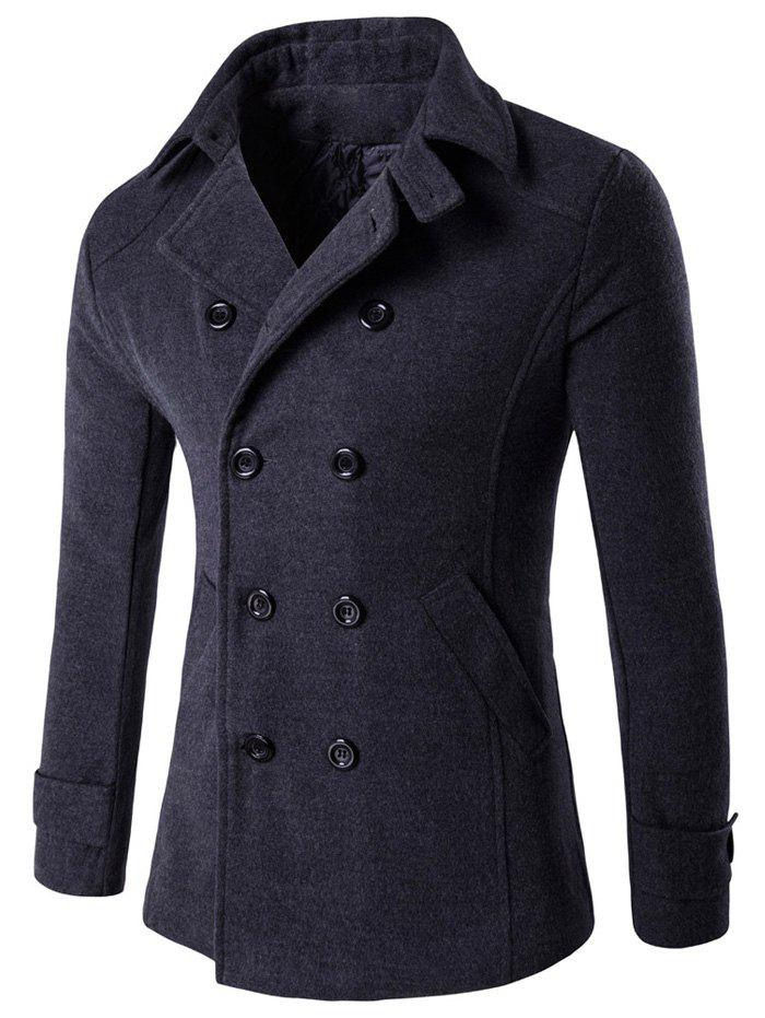 Double Breasted Design Woolen Blends Coat - DEEP GRAY M
