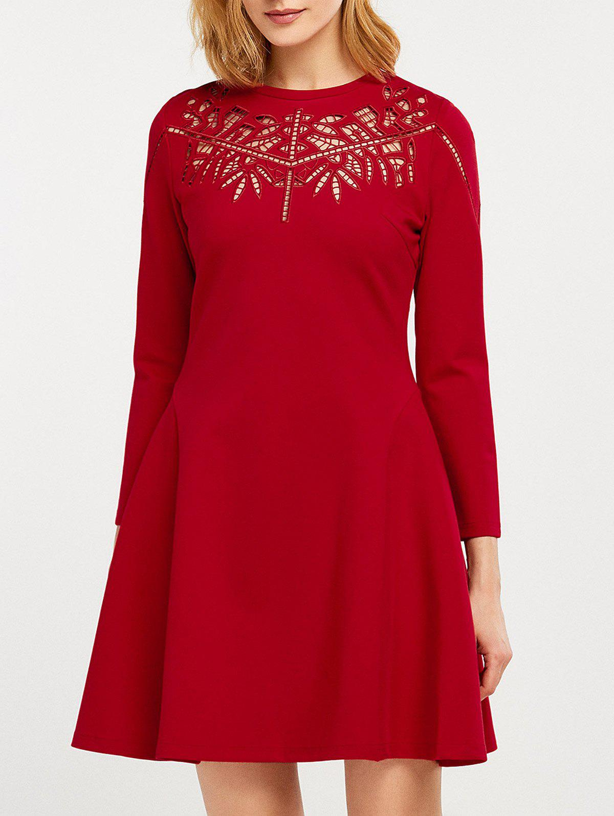 Fit and Flare Openwork Dress - RED XL