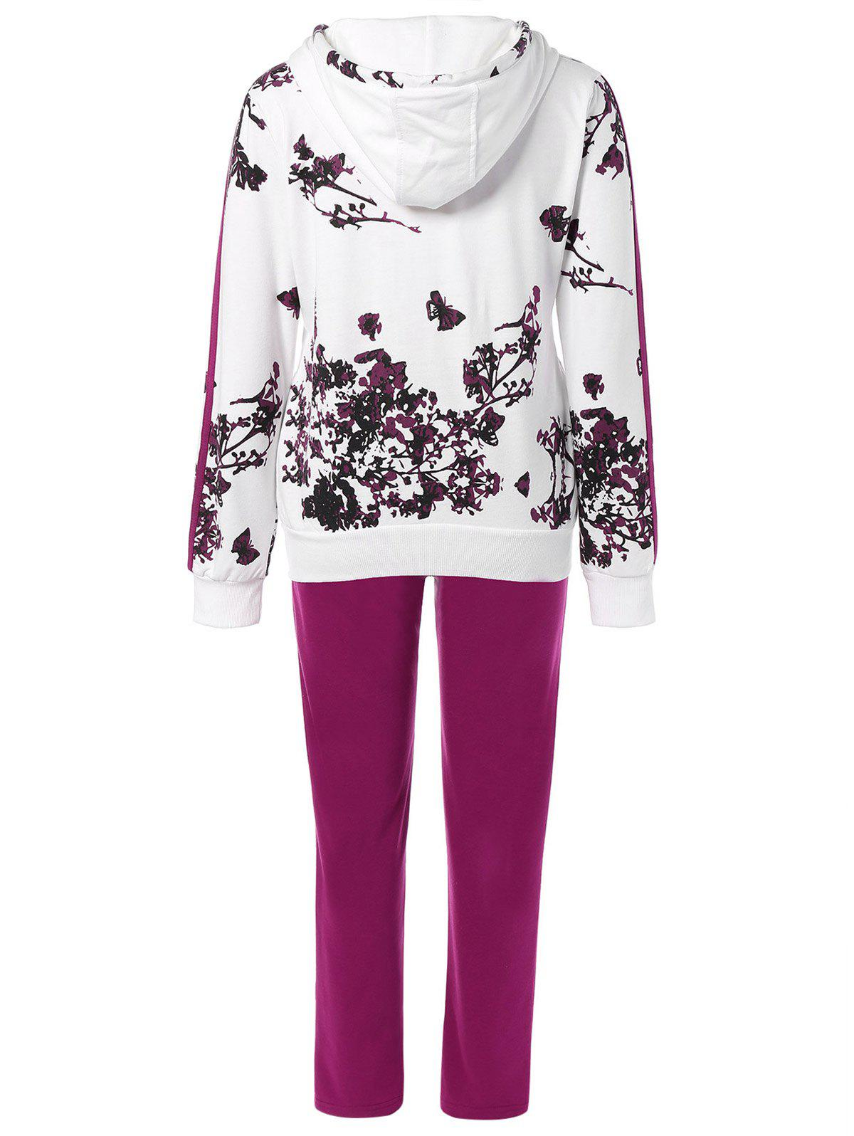 Floral Print Jacket and Striped Pants Twinset - PURPLISH RED L