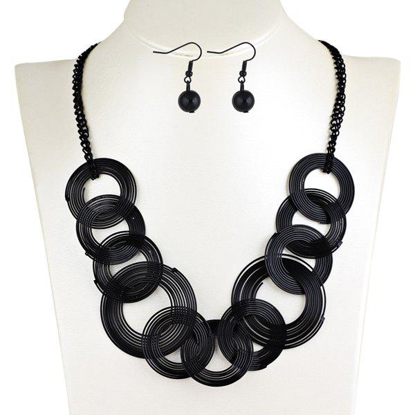Round Metallic Jewelry SetJewelry<br><br><br>Color: BLACK