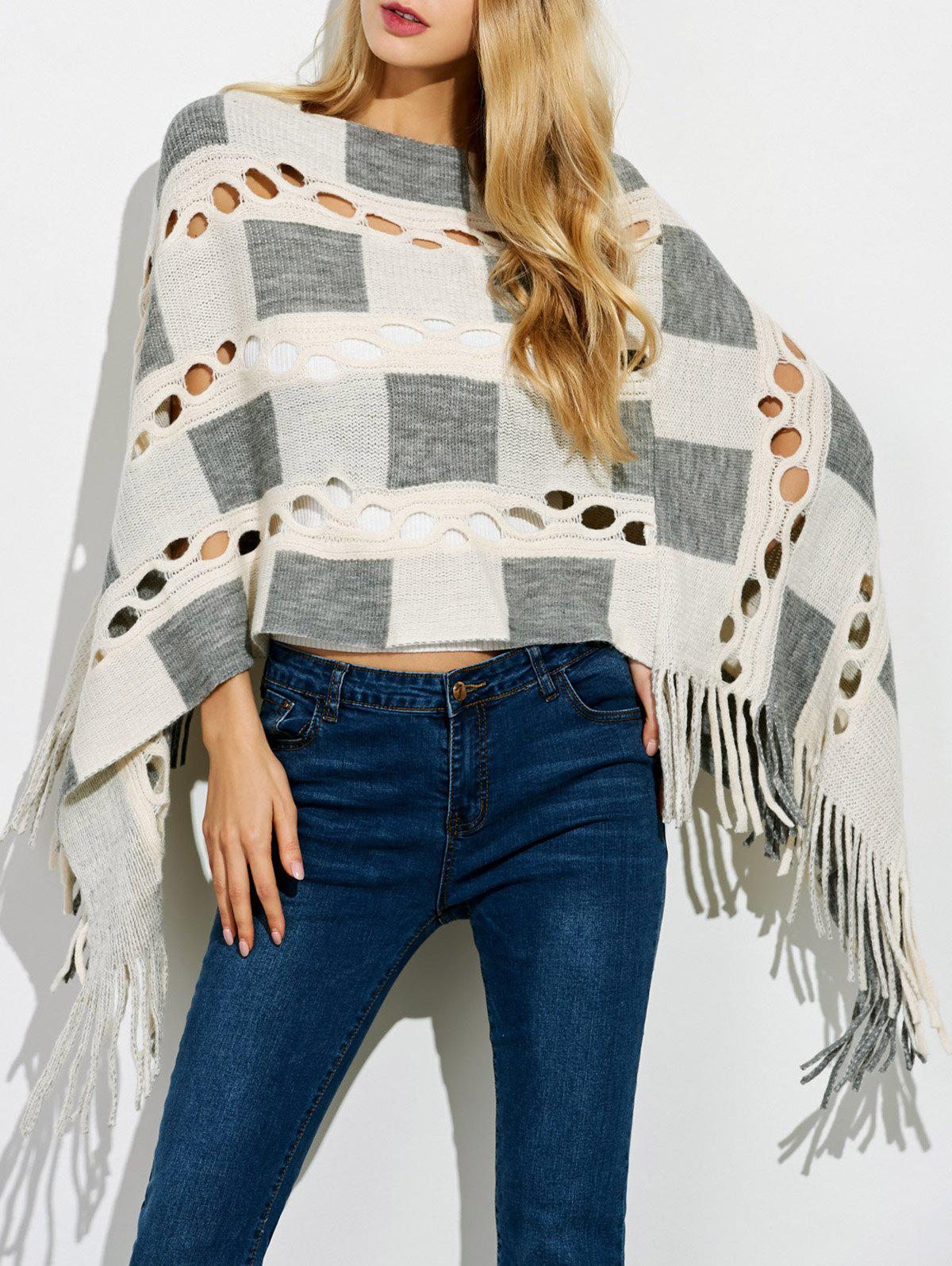 Boat Neck Crochet Knit Fringe Poncho - OFF WHITE ONE SIZE