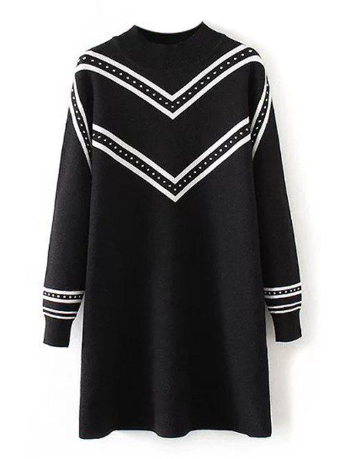 Pull Grande Taille Tunique Rayé Col Rond - Noir 3XL