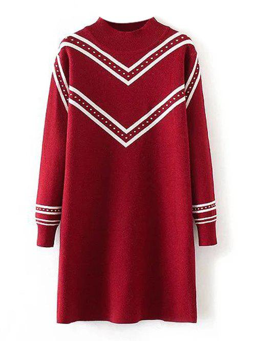 Pull Grande Taille Tunique Rayé Col Rond - Rouge XL