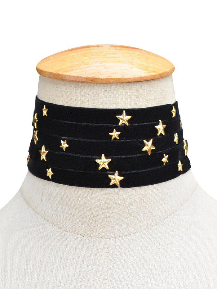 Multilayered Stars Velvet Choker Necklace - BLACK