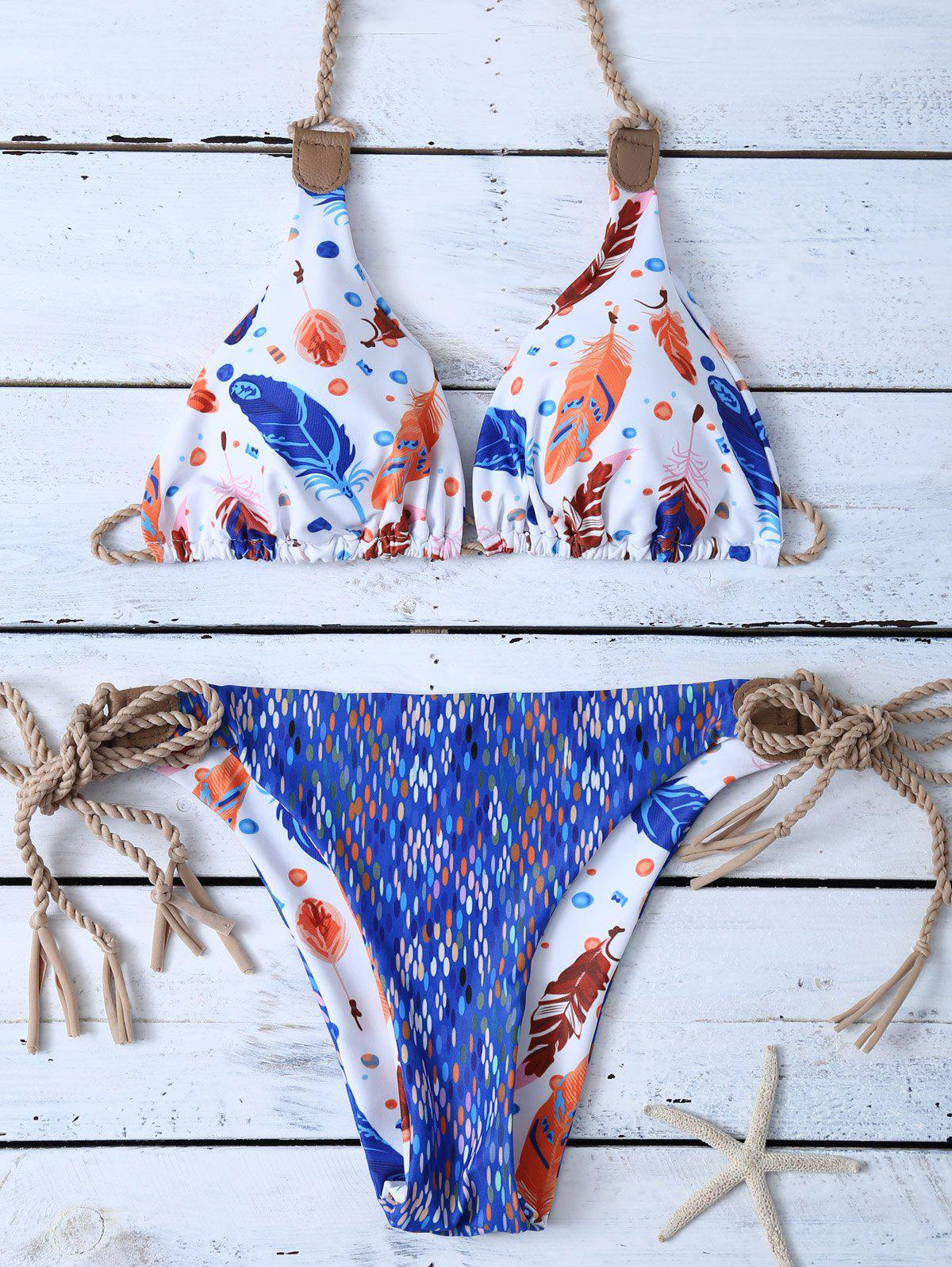 Feather Print Reversible String Bikini SetWomen<br><br><br>Size: M<br>Color: BLUE AND WHITE