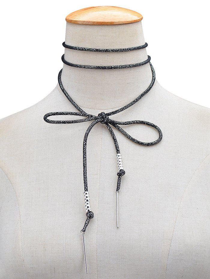 Artificial Leather Rope Bows Choker Necklace - BLACK