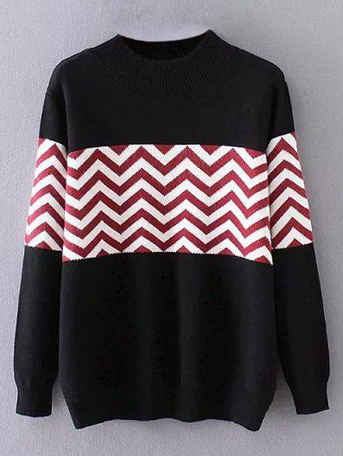 Plus Size Pullover Wave Striped Crew Neck Sweater  plus size striped crew neck longline sweater