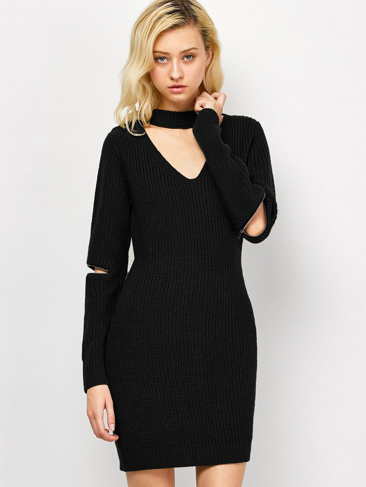 Choker Neck Short Sheath Fitted Sweater Dress - BLACK XL