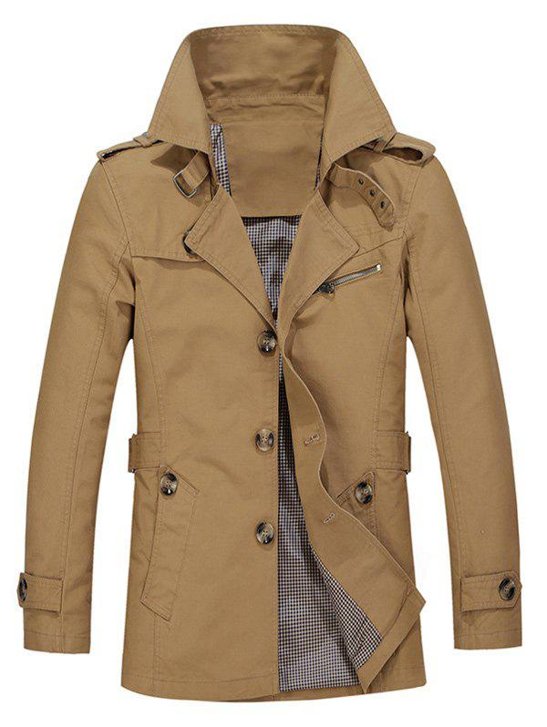 Single Breasted Turndown Collar Epaulet Design Coat - DARK KHAKI 3XL