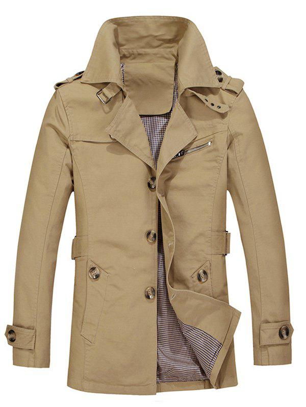 Single Breasted Turndown Collar Epaulet Design Coat - LIGHT KHAKI L