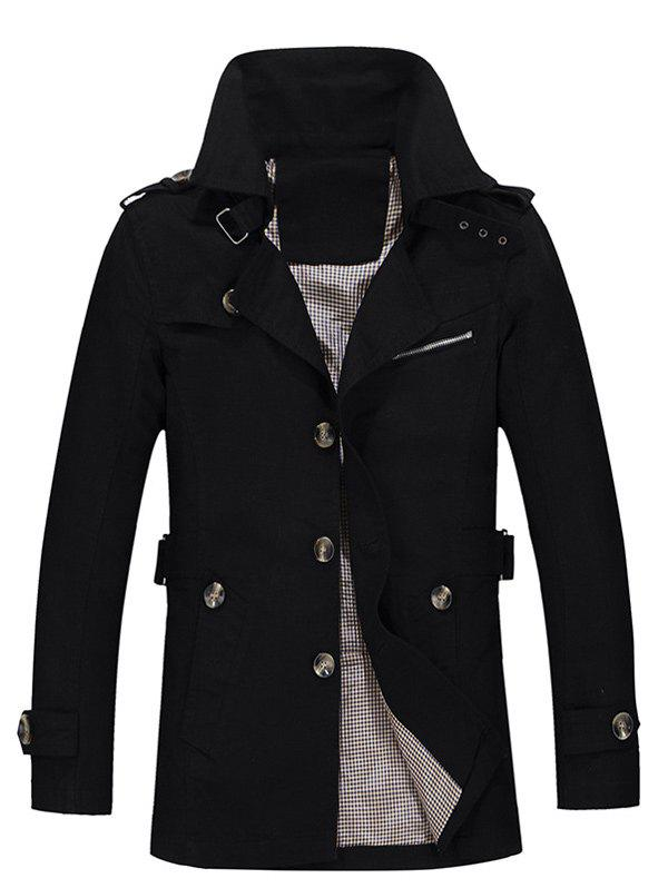 Single Breasted Turndown Collar Epaulet Design Coat - BLACK XL