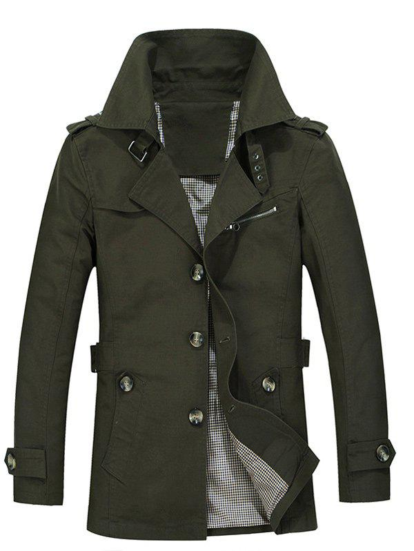 Single Breasted Turndown Collar Epaulet Design Coat - ARMY GREEN L