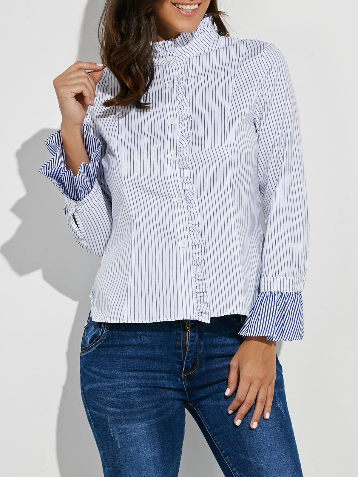 Button Up Ruffle Stripe ShirtWomen<br><br><br>Size: XL<br>Color: WHITE