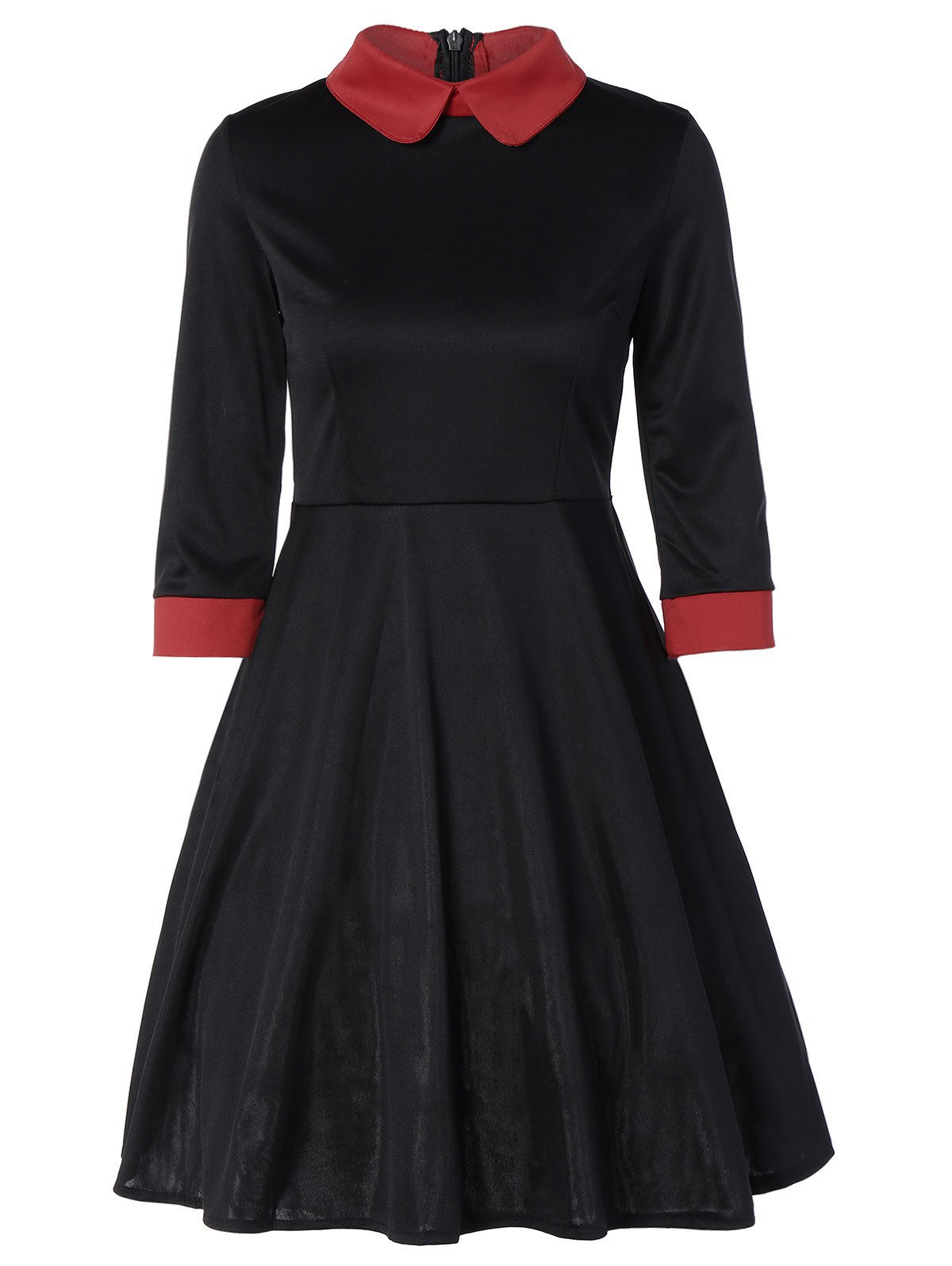 Panel Peter Pan Collar Midi Swing Dress - BLACK L