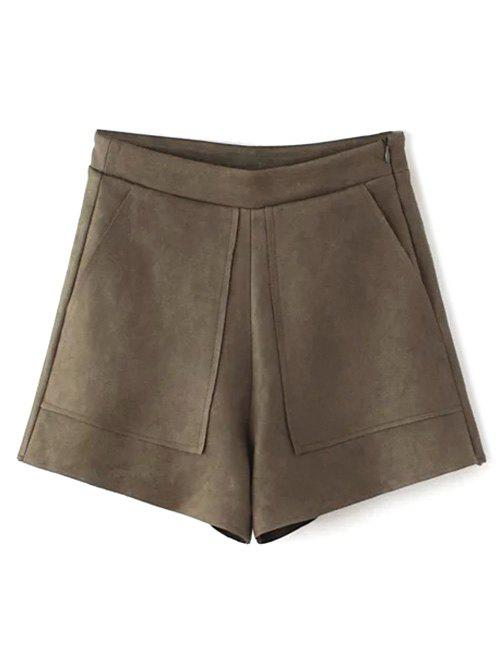 Front Pockets Suede Shorts - COFFEE L