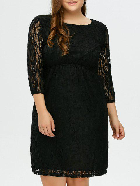 Plus Size Lace Floral Prom Wedding Dress - BLACK XL