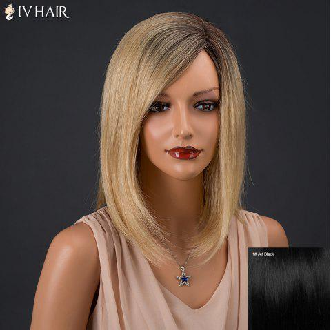 Inclined Parting Medium Colormix Silky Straight Siv Human Hair Wig - JET BLACK 01