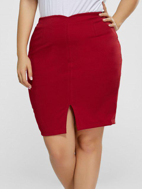 Front Slit Plus Size High Waisted Skirt - BURGUNDY 4XL