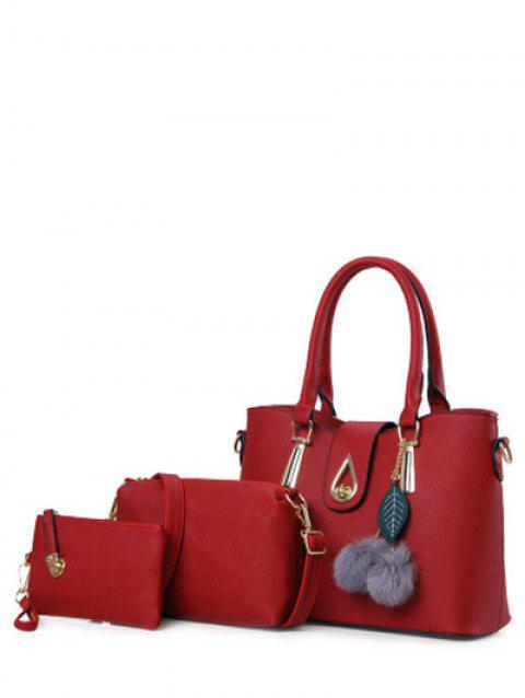 Faux Leather Twist-Lock Metal Tote Bag - RED