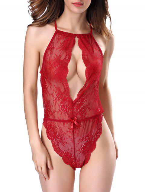 Hollow Out Backless Lace Teddy - RED S