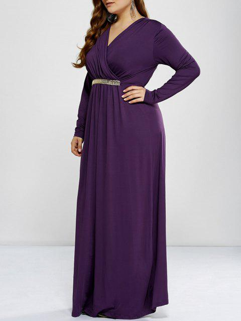 Limited Offer 2018 Plus Size Long Sleeve Surplice Prom Dress In