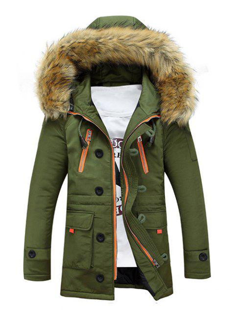 Multi-Pocket Faux Fur Hooded Zip Up Padded Coat - ARMY GREEN L