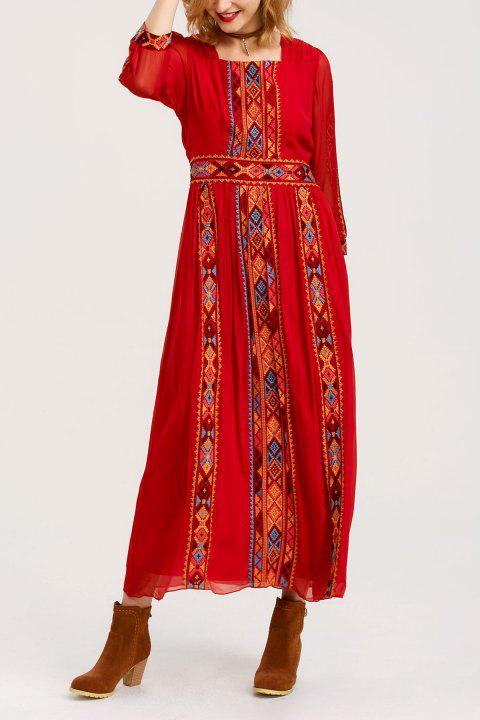 Square Collar Embroidered Maxi Dress - RED 5XL