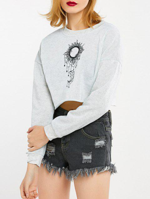 Sun and Moon Print Cropped Sweatshirt - LIGHT GRAY L